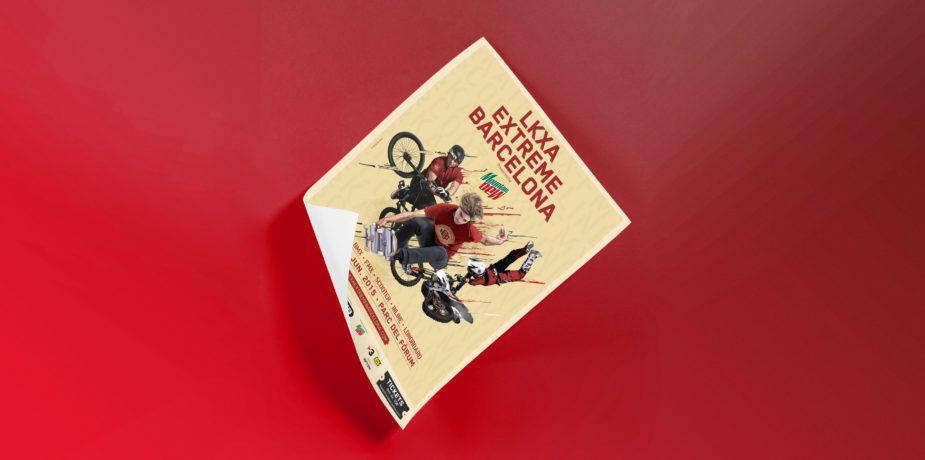 Diseño de poster para LKXA extreme barcelona, evento deportivo