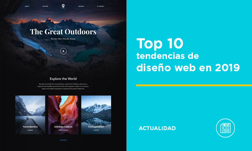 Top 10 tendencias en diseño web para 2019